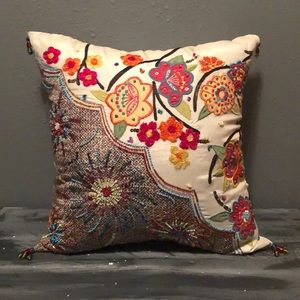 Pier 1  floral beaded accent pillow